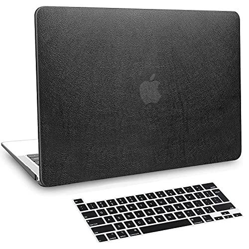 Belk Custodia Compatibile con MacBook PRO 13 Pollici 2020-2016 con/Senza Touch Bar A2338 M1 A2289 A2251 A2159 A1989 A1706 A1708, PU Pelle Rigida Case Cover Protettiva con Tastiera Cover, Nero