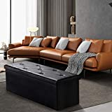 SUNNYSHAW 43 Inches Folding Storage Ottoman Bench, Chest Padded Foam Seat Stool Footrest with 80L Space, Faux Leather Black Holds Up to 700lb