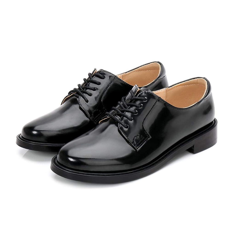 [イグル] オックスフォードシューズ レディースラウンドトゥ マニッシュシューズ おじ靴 太ヒール ウォーキングシューズ ローファー通勤 エンジニアブーツ カジュアル シンプル 高反発クッション 革靴 エナメル