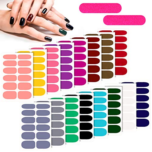 16 Sheets Solid Color Nail Polish Stickers Adhesive Full Wrap Nail Decals Multicolor Glossy Manicure Sticker Strips with 2 Pieces Nail File for Women Nail DIY Art
