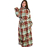 着る毛布 保温 洗える 静電気防止 とろける肌触り チェック Lサイズ 着丈170cm アイボリー×レッド fondan FDRM-054