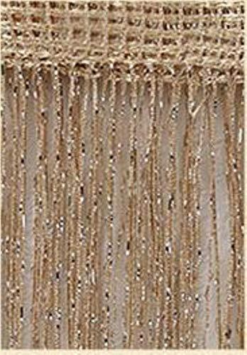 PENVEAT 3x2,6m Fadenvorhang Shiny Tassel Line Vorhänge Fenster Tür Teiler drapieren Wohnzimmer Dekor Volant, Champagner, 100x200cm