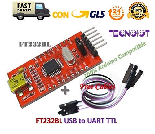 TECNOIOT FT232BL USB to TTL FT232 5V 3.3V Download Cable to Serial Adapter Module + Cable |FT232BL USB à TTL FT232 5V 3.3V Câble de téléchargement vers Module adaptateur série + câble