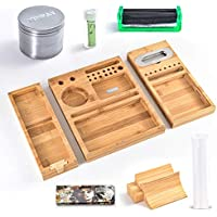 Bamboo Removable Rolling Tray Combo Kit with Herb Grinder Doob Tube Rolling