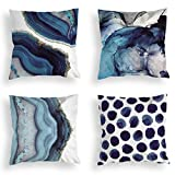 OATHENE Set of 4 Decorative Throw Pillow Covers,Navy Blue Marble Dots Sea Texture Cotton L...
