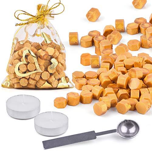 LotFancy 150 Stück Gold Siegellack Perlen mit 2 Teekerzen und 1 Schmelzlöffel, Octagon Wachssiegel Kit für Siegelstempel, Umschlag, DIY Hochzeitseinladung, Dankeschön Brief, Geschenkverpackung