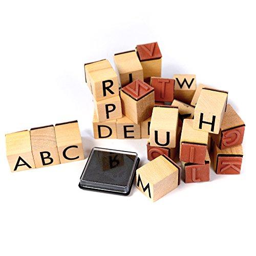 26-teiliges Frau Wundervoll Stempelset Alphabet inkl. Stempelkissen / Motivstempel Textstempel Gummi Holz Gummistempel Stempel Gastgeschenk Stempel Hochzeit Ministempel Dekostempel Stempel Buchstaben