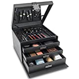 Glenor Co Makeup Organizer - Extra Large Exquisite Case w Modern Closure, 4 Drawer Trays & Full Mirror - Huge Cosmetic Storage Jewelry Box for Dresser, Counter-top & Vanity - PU Leather - Black