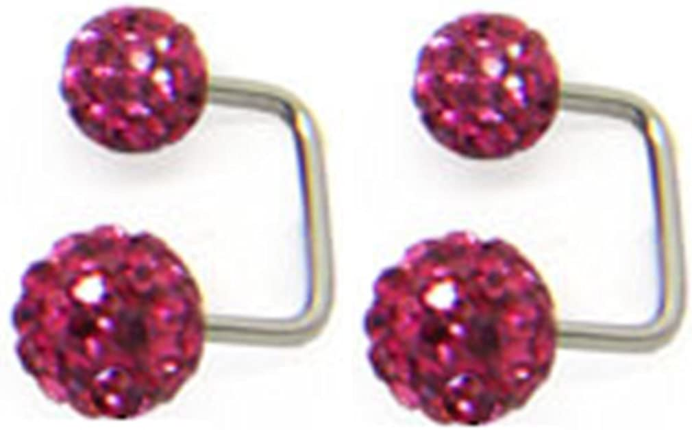 Thenice 1 Pair Special Flash Earrings Double Ball Full Crystal Ball Cu-shaped (Rose Red)