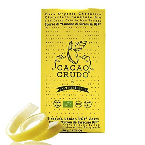CiboCrudo Tavoletta di Cioccolato con Scorze di Limone, Cacao 77% Bio, Cacao Criollo e Limoni Biologici di Sicilia, Lavorazione Artigianale, Marchio Cacao Crudo – 50 gr