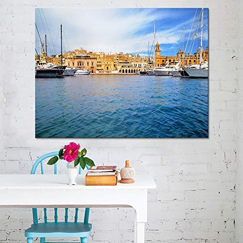 KWzEQ Imprimir en Lienzo Barco yate póster en imágenes Decorativas para la habitación decoración del hogar50x75cmPintura sin Marco