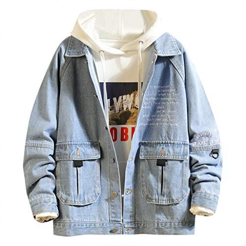 Realde Herren Lange Ärmel Denim Jacket Strickjacke Freizeit Einfarbig Mehrere Taschen mit Reißverschluss Mantel Outwear Herbst und Winter Große Größen Arbeitskleidung für Fitness