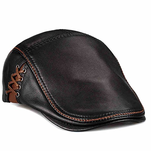 LETHMIK Unique Flat Cap Hunting Cowhide Leather Driver Ivy...
