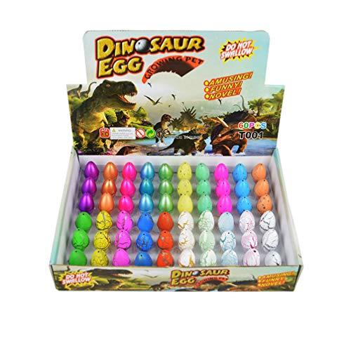 Yeelan Huevos de Dinosaurio Juguete para incubar Dino Dragon Egg para niños Paquete de tamaño pequeño de 60 Piezas, Color Mezclado de 4 Estilos