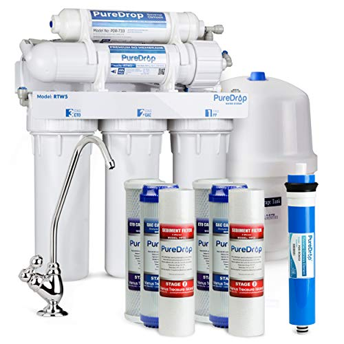 PureDrop RTW5 Under Sink 5 Stage Reverse Osmosis Drinking Water Filtration System with Extra Pre-Filter Set
