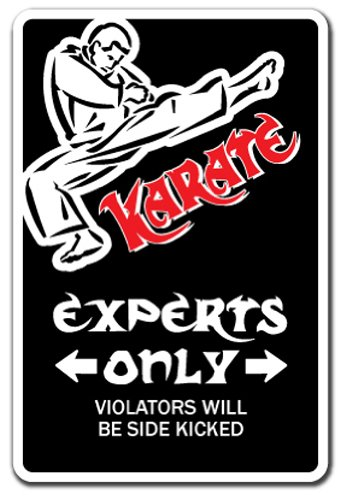 "KARATE Sign parking martial arts black belt master instructor school class | Indoor/Outdoor | 12"" Tall Plastic Sign"