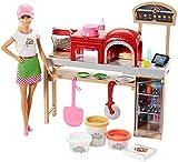 Barbie Métiers poupée pizzaïola avec kit pizzeria comprenant four, accessoires pour repas et trois pots de pâte à modeler, jouet pour enfant, FHR09