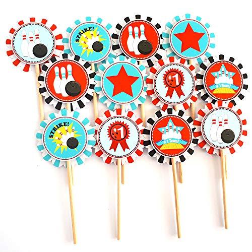 Junge Bowling Cupcake Toppers - Kid Geburtstag Unterhaltung Sport Party Cake Supplies - Set von 12