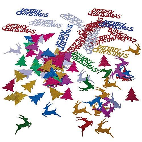 Susy Card 11428232 Weihnachtlicher Streuschmuck, 3 x 10g im Polybeutel mit Header, Verschiedene Farben und Motive (Merry Christmas, Bäume, Elche)