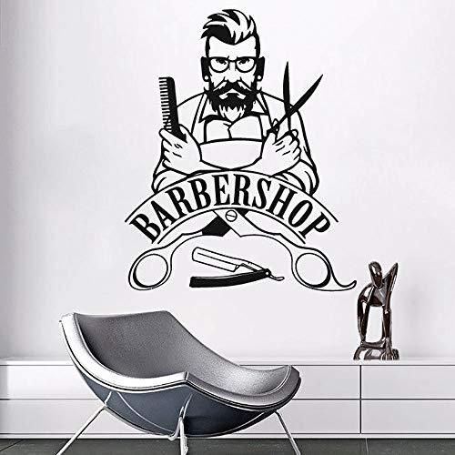 Pared barbería letrero pared hipster vinilo pegatina salón de belleza pegatina para ventana barbería decoración