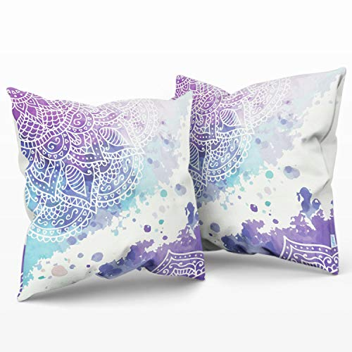 CaliTime Throw Pillow Cases Pack of 2 Cozy Fleece Watercolor Mandala Flora Bohemian Style Cushion Covers for Couch Bed Sofa Farmhouse Decoration 18 X 18 Inches Main Purple