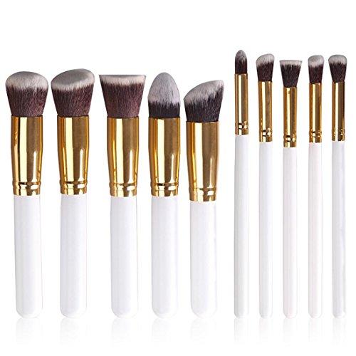 10 Contour Brush Set de brosse à maquillage Blush Brush Brosse à ombre à paupières Brow Brush Correcteur Brush Brush Brush Powder Brush Foundation BrushSynthétique , white