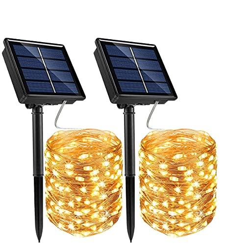 BACKTURE Guirnalda Luces Exterior Solar, 2 Pack Solar Cadena de Luces 22M 200 LED Blanco Cálido, 8...