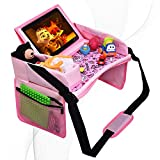DMoose Kids Travel Tray, Toddler Car Seat Lap Activity Tray with Padded Comfort Base, Side Walls, Mesh Snack Pockets, Tablet Holder, Waterproof Car Seat, Stroller, Airplane Play and Learn Area ( Pink)
