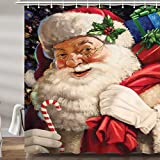 Vintage Christmas Santa Claus Shower Curtain for Bathroom, Retro Xmas Cute Holiday Fabric Bath Accessories Curtains Decor with 12PCS Hooks 69X70 Inches
