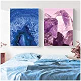 XuFan Geode Wall Art Agate Print Mineral Posters Blue Agate Canvas Painting Crystal Mineral Wall Picture Home Decor-20X28 Inch 2Pcs Sin Marco
