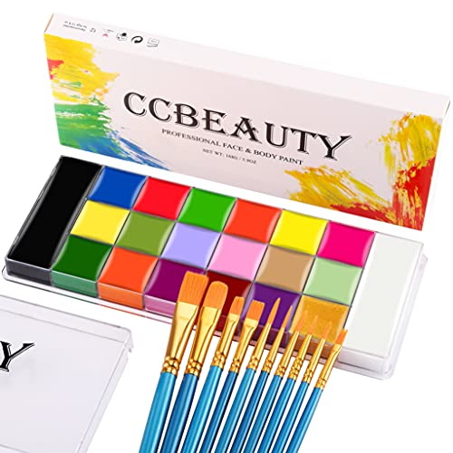 CCbeauty Professional Face Body Paint 20 Colors(14 Regular and 6 Glow Color) Halloween Neon Body Paint Oil Based SFX Cosplay Makeup Large Black White Face Paint Palette with 10 Blue Brushes