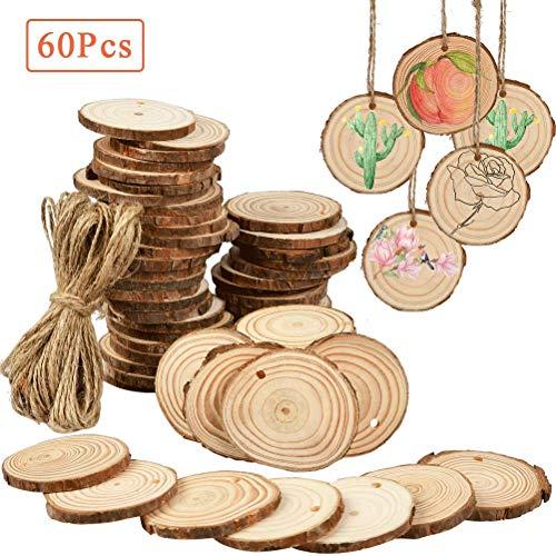 FOCCTS 60 Stück Rund Natur Holzscheiben Holz Log Scheiben mit Baumrinde Unbehandeltes DIY Handwerk Dekoration Holz Tischdeko Hochzeits Weihnachten Baum Anhänger (3-4 cm,4-5 cm,5-6 cm, 0.5cm Dicke)