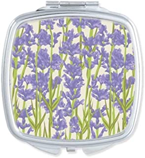 DIYthinker Flowers Plant Painting Lavender Square Compact Makeup Mirror Portable Cute Hand Pocket Mirrors Multicolor