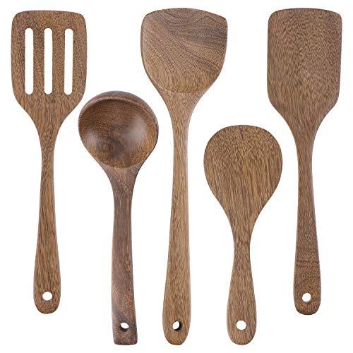 Küchenutensilien-Sets, Set mit 5 Kochutensilien, nicht kratzend, hitzebeständig, japanisch, inklusive Holzspatel, Kochlöffel für antihaftbeschichtete Pfannen