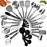 Kitchen Utensil Set 21 Piece Durable Long Lasting  Stainless Steel Cookware Set Non Stick  Dishwasher Safe  Kitchen Gadgets  Kitchen Tool Set Heat Resistant Juego de utensilios de cocina