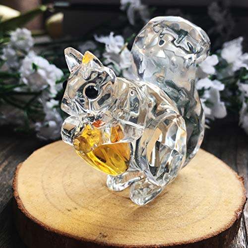 H and D Crystal Animals Collectible Figure Paperweight Table Adornment Centerpiece, Wood, Clear_Squirrel
