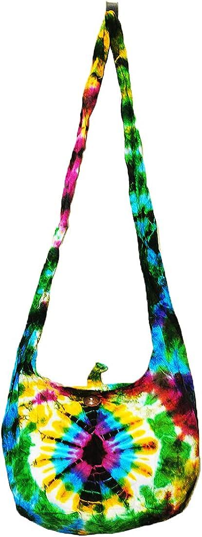 Thai Hippie Tie Dye Hobo Sling Crossbody Shoulder Bag Purse Handmade Mix Pattern Cotton Zip Gypsy Boho Messenger Small