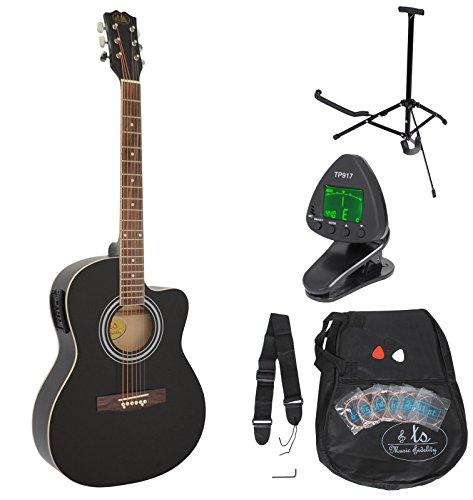 ts-ideen 4/4 Elektro Akustik Gitarre Schwarz Westerngitarre mit 4 Band Pickup mit Zubehörset