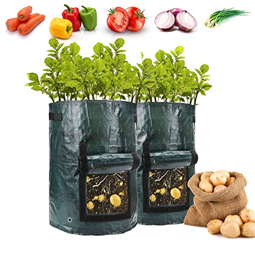 Vegetable Growing Bag10 Gallon Thickened Potato Growing Bags Garden Containers Planters for Vegetables, with Handles, Drain Hole & Large Harvest Window (2pack)