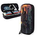 The Wit-Cher The Wild Hunt Big Capacity Pen Case Leather Pencil Case Durable Pen Pouch Desk Organizer with Zipper for School & Office Supplies