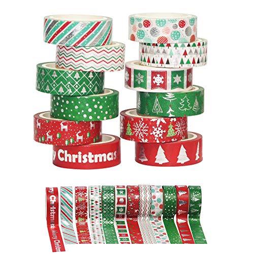 Lot de 12 rouleaux de ruban de masquage Washi décoratif de Noël - Ruban adhésif coloré pour les vacances, le bricolage, le scrapbooking, l'emballage de cadeaux