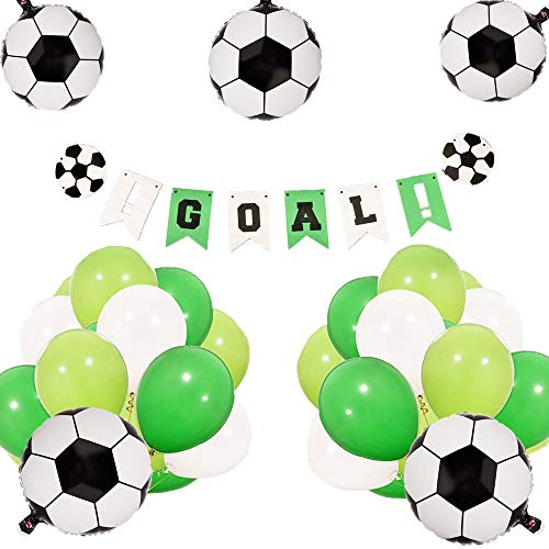 JeVenis Set von 21 Soccer Birthday Party Dekoration Set Soccer Ballons Soccer Ball Banner Soccer Party Dekorationen Soccer Banner für Jungen Geburtstag Baby Shower Dekoration