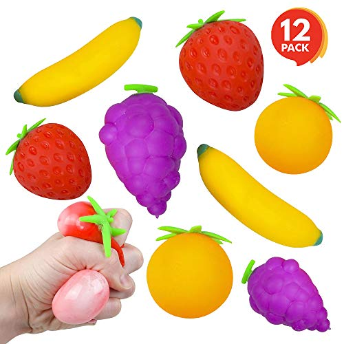 ArtCreativity 3 Inch Assorted Stress Relief Fruits - Set of 12 - Squeezee Toys Assortment for Kids and Adults - Includes Banana Strawberry Grape and Orange - Fun Party Favors for Boys and Girls