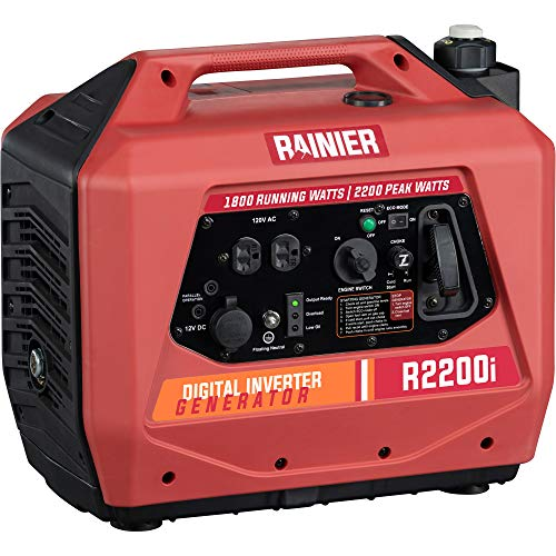 Rainier R2200i Super Quiet Portable Power Station Outdoor Inverter Generator  1800 Running amp 2200 Peak  Gas Powered  CARB Compliant