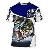 BBYOUTH Camisas De Pesca De Bajo 3D para Hombres, Camuflaje De Pescado De Peces Impresión Animal Arte De Verano Manga Corta Harajuku Camiseta,Blue White,L
