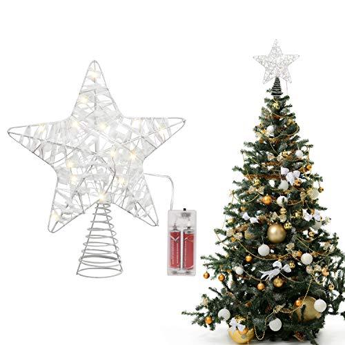 Belle Vous Weihnachtsbaum Spitze - (24x22cm) Weihnachtsstern Baumspitze Weiß – 3D Metall Stern mit Schnee Christbaumspitze Beleuchtet – Tannenbaumspitze Baumschmuck mit 18 LED Lichter (ohne Batterien)