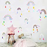 Rainbow Wall Decals Rainbow Wall Stickers Watercolor Raindrop Wall Stickers Peel and Stick Wall Decals Girls Decals