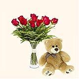 Pack Ramo de 12 rosas + Osito de peluche marrón - París - Ramo de flores naturales y Osito a domicilio - Envío a domicilio 24h GRATIS - Tarjeta dedicatoria de regalo