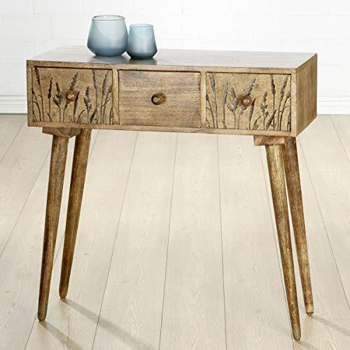 Soma Holz Sideboard Gräser (BxHxT) 80 x 79 x 0 cm braun gewischt, Mangoholz,3 Schubladen