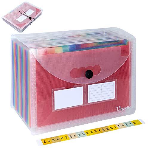 Uquelic Transparenter Regenbogen Datei Organizer 24 Taschen Datei Ordner Organizer A4 Kunststoff Datei Ordner A4 Dokumentenmappe A4 Fächermappe A4 mit Deckel und Geschäftskartenhalter